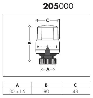 205000 comando termostatico per valvole termostatizzabili for Helios termocamini scheda tecnica