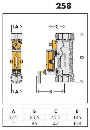 258523 valvola di bilanciamento con flussometro per for Helios termocamini scheda tecnica