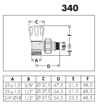 340302 3 8 valvola manuale per radiatori attacchi a for Helios termocamini scheda tecnica