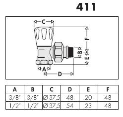 411302 3 8 valvola manuale per radiatori attacchi a for Helios termocamini scheda tecnica