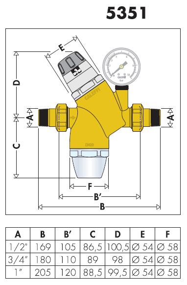 535140 1 2 riduttore di pressione con cartuccia monoblocco for Helios termocamini scheda tecnica