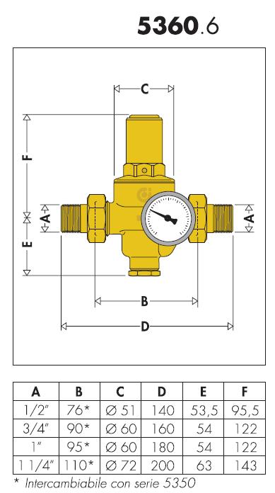 536081 1 39 39 1 2 riduttore di pressione con cartuccia for Helios termocamini scheda tecnica