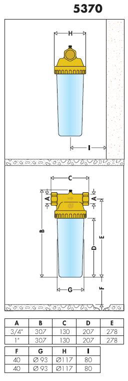 537050 3 4 contenitore per cartucce filtranti standard da for Helios termocamini scheda tecnica