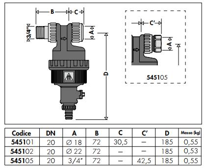 545105 defangatore con magnete installazione sottocaldaia for Helios termocamini scheda tecnica
