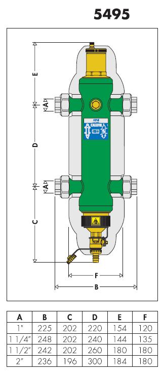 549507 sep4 separatore idraulico multifunzione 1 1 4 for Helios termocamini scheda tecnica