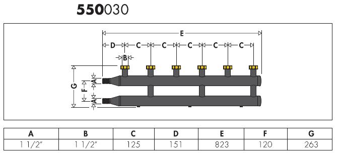 550030 collettore per impianti di riscaldamento e for Helios termocamini scheda tecnica