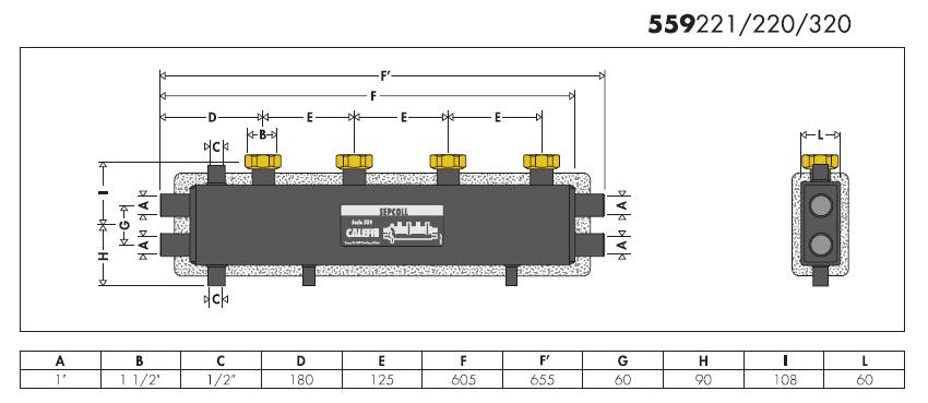 559221 sepcoll separatore idraulico collettore da for Helios termocamini scheda tecnica