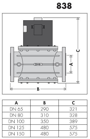 838100 elettrovalvola gas normalmente chiusa dn 100 for Helios termocamini scheda tecnica