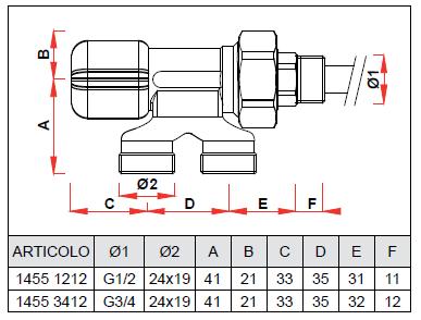 1455 1212 1 2 valvola monotubo manuale per impianti for Helios termocamini scheda tecnica