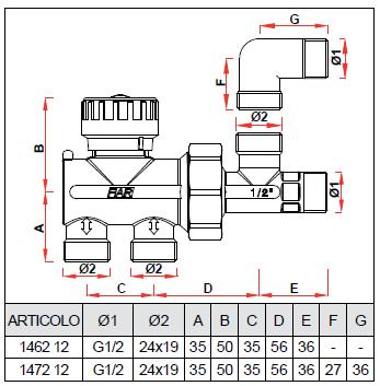 1462 12 valvola monostile manuale per impianti monotubo for Helios termocamini scheda tecnica