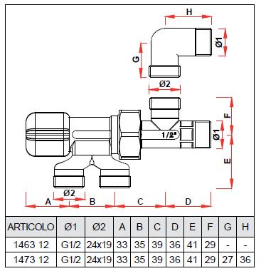 1463 12g18 valvola monostile manuale per impianti monotubo for Helios termocamini scheda tecnica