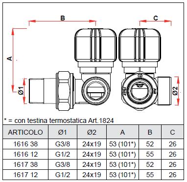 1617 38 3 8 valvola termostatizzabile ad angolo destro for Helios termocamini scheda tecnica